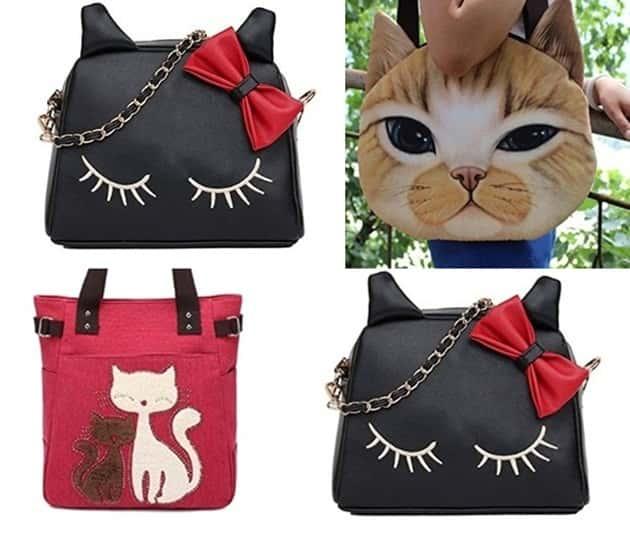 Kedi desenli çantalar